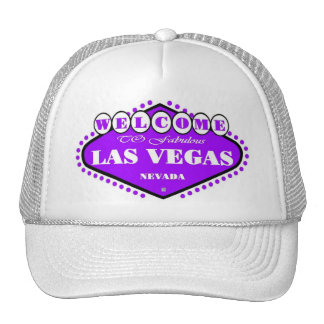 BRIGHT Purple Las Vegas Sign Cap Trucker Hat