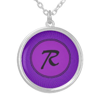 Bright Purple Mod Design Personalized Necklace