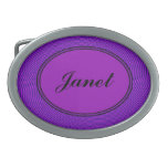 Bright Purple Mod Monogram Oval Belt Buckle