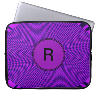 Bright purple monogram computer sleeve
