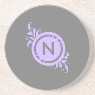 Bright Purple on Grey Floral Monogram Sandstone Coaster