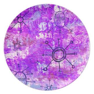 Bright Purple Orbit Melamine Plate