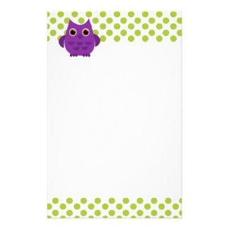 Bright Purple Owl Stationery