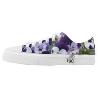 Bright Purple Pansies, Zipz Printed Sneakers. Low-Top Sneakers