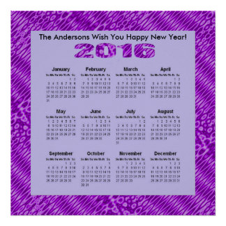 Bright Purple Pattern 2016 yearly Calendar Poster