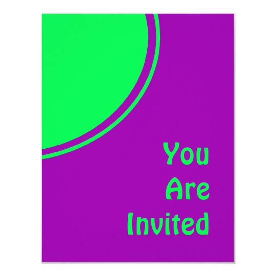 Bright purple pink lime green mod party invite