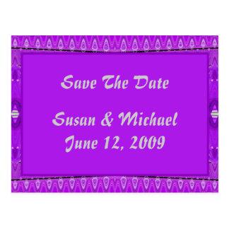Bright Purple Save The Date Postcard