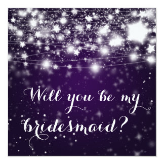 Bright Purple| Stars Will You Be My Bridesmaid Card