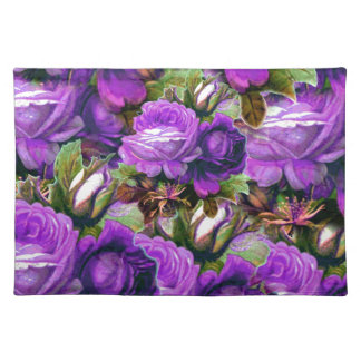 Bright Purple Vintage Roses Grunge Cloth Placemat