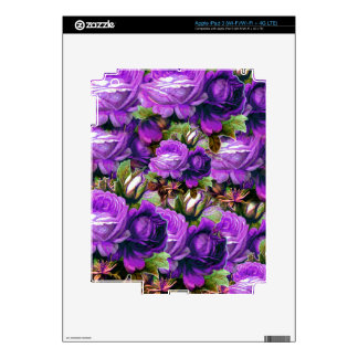 Bright Purple Vintage Roses Grunge Skin For iPad 3