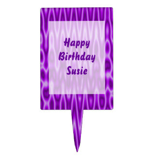 Bright purple wavey background cake topper