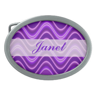bright purple wavey line pattern belt buckle