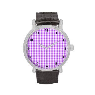 Bright Purple & White Gingham Pattern Watches