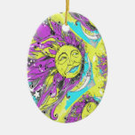 Bright Purple & Yellow Sun & Moon Design Christmas Ornament