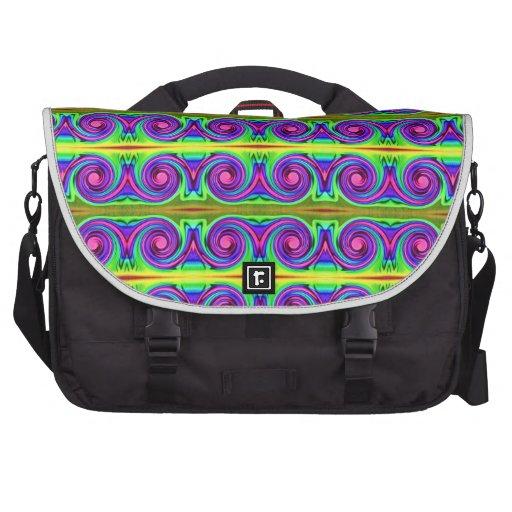 bright purple yellow swirl pattern commuter bags