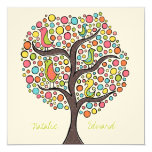 "Bright Rainbow Bird Tree Custom Wedding Invitation 5.25"" Square Invitation Card"