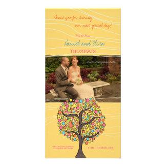 Bright Rainbow Bird Tree Thank You Photo Card