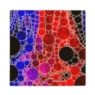 Bright Rainbow Bling Pattern Wooden Coaster