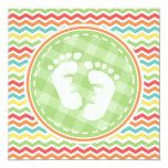 Bright Rainbow Chevron Baby Feet Baby Shower Personalized Announcements