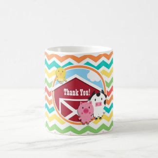 Bright Rainbow Chevron Farm Theme Baby Shower Classic White Coffee Mug