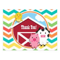 Bright Rainbow Chevron Farm Theme Baby Shower Postcard
