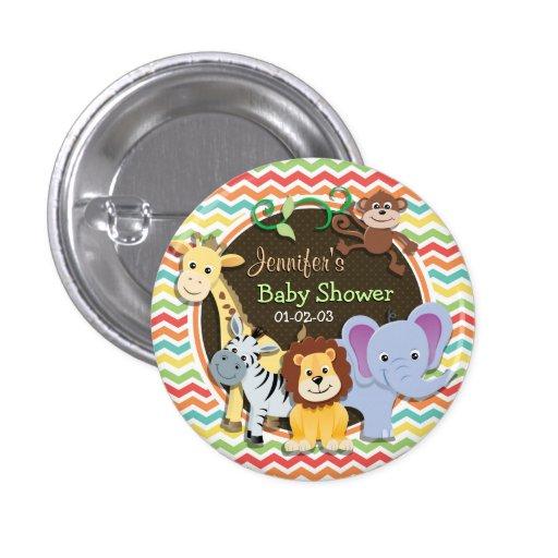 Bright Rainbow Chevron Zoo Animals Baby Shower Button