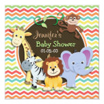 "Bright Rainbow Chevron Zoo Animals Baby Shower 5.25"" Square Invitation Card"
