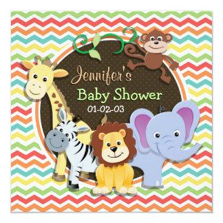 Bright Rainbow Chevron Zoo Animals Baby Shower 5.25x5.25 Square Paper Invitation Card