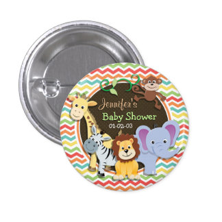 Bright Rainbow Chevron Zoo Animals Baby Shower Pinback Button