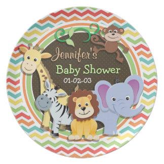 Bright Rainbow Chevron Zoo Animals Baby Shower Party Plate