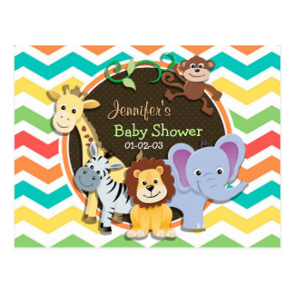Bright Rainbow Chevron Zoo Animals Baby Shower Postcard