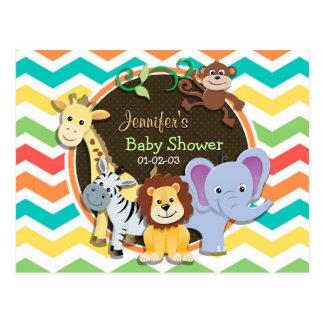 Bright Rainbow Chevron Zoo Animals Baby Shower Postcard