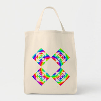 Bright Rainbow Color Flowers. On White. Grocery Tote Bag