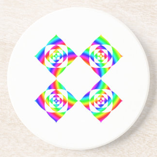 Bright Rainbow Color Flowers. On White. Coasters