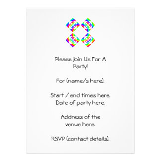 Bright Rainbow Color Flowers. On White. Personalized Invitations