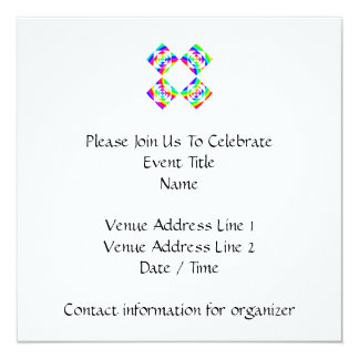 Bright Rainbow Color Flowers. On White. 5.25x5.25 Square Paper Invitation Card