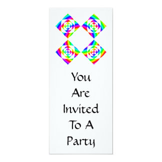 Bright Rainbow Color Flowers. On White. 4x9.25 Paper Invitation Card