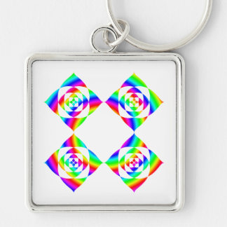 Bright Rainbow Color Flowers. On White. Silver-Colored Square Keychain