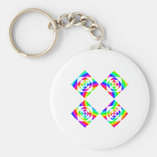 Bright Rainbow Color Flowers. On White. Basic Round Button Keychain