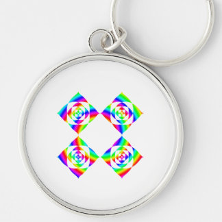 Bright Rainbow Color Flowers. On White. Silver-Colored Round Keychain