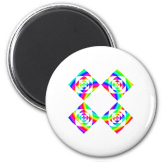 Bright Rainbow Color Flowers. On White. 2 Inch Round Magnet