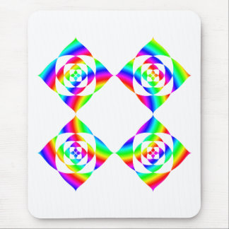 Bright Rainbow Color Flowers. On White. Mouse Pad
