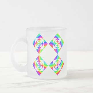 Bright Rainbow Color Flowers. On White. 10 Oz Frosted Glass Coffee Mug
