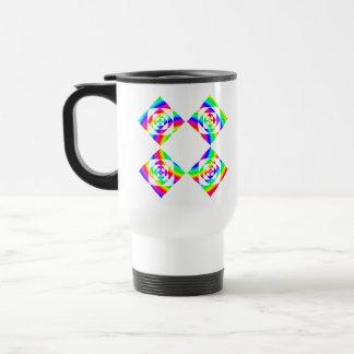 Bright Rainbow Color Flowers. On White. 15 Oz Stainless Steel Travel Mug