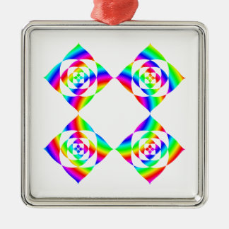 Bright Rainbow Color Flowers. On White. Square Metal Christmas Ornament