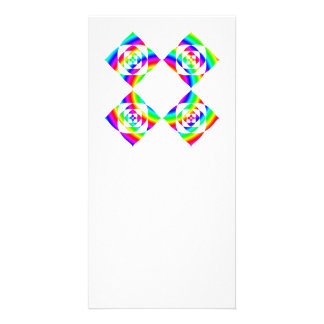 Bright Rainbow Color Flowers. On White. Personalized Photo Card