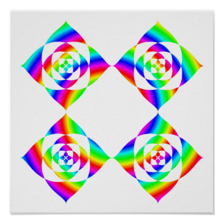 Bright Rainbow Color Flowers. On White. Poster