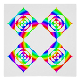 Bright Rainbow Color Flowers. On White. Print