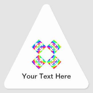 Bright Rainbow Color Flowers. On White. Triangle Sticker