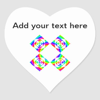 Bright Rainbow Color Flowers. On White. Heart Sticker